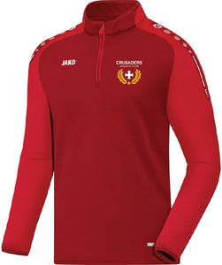 ADULT JAKO CRUSADERS AC ZIP TOP WITH CREST CAC8617C RED WITH CREST