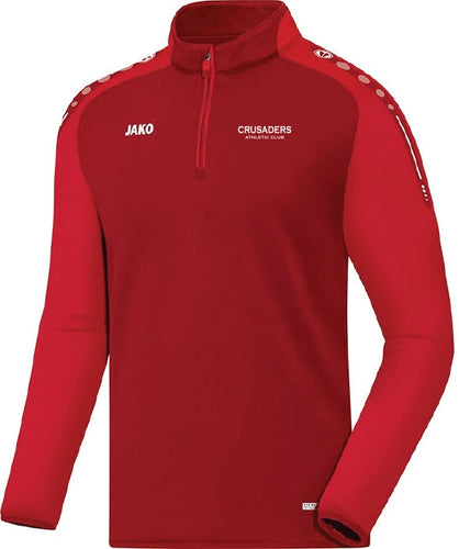 ADULT JAKO CRUSADERS AC ZIP TOP WITH TEXT CAC8617T RED WITH TEXT