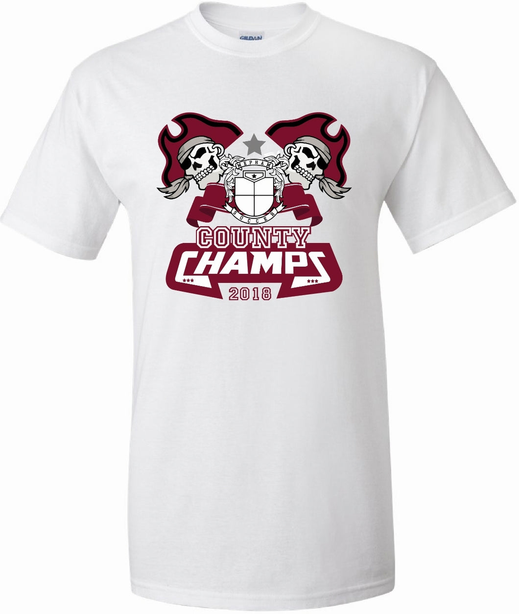 MEPHAM COUNTY CHAMPS 2018 TSHIRT MS0001 WHITE