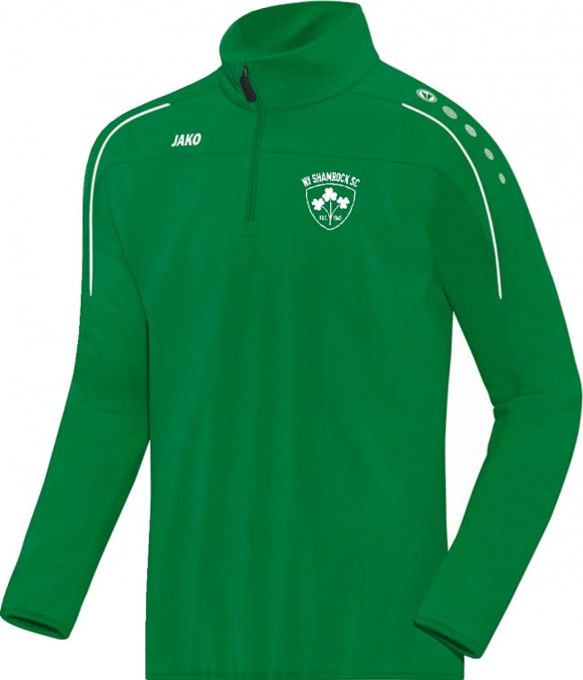 ADULT NY SHAMROCKS JAKO HALF ZIP RAIN TOP NYS7350
