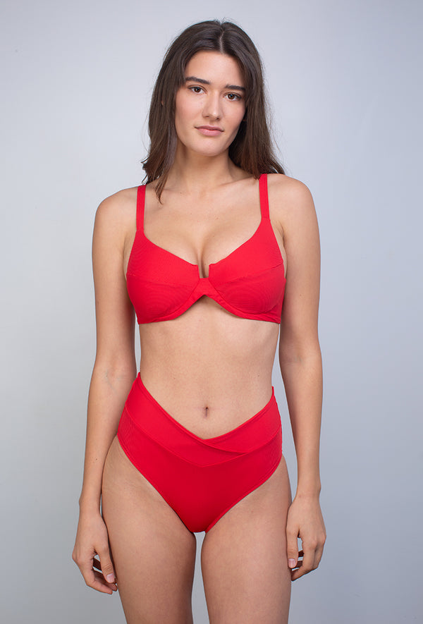 MLLE SEREINE - Haut Couleur Rouge - Aulala Swimwear