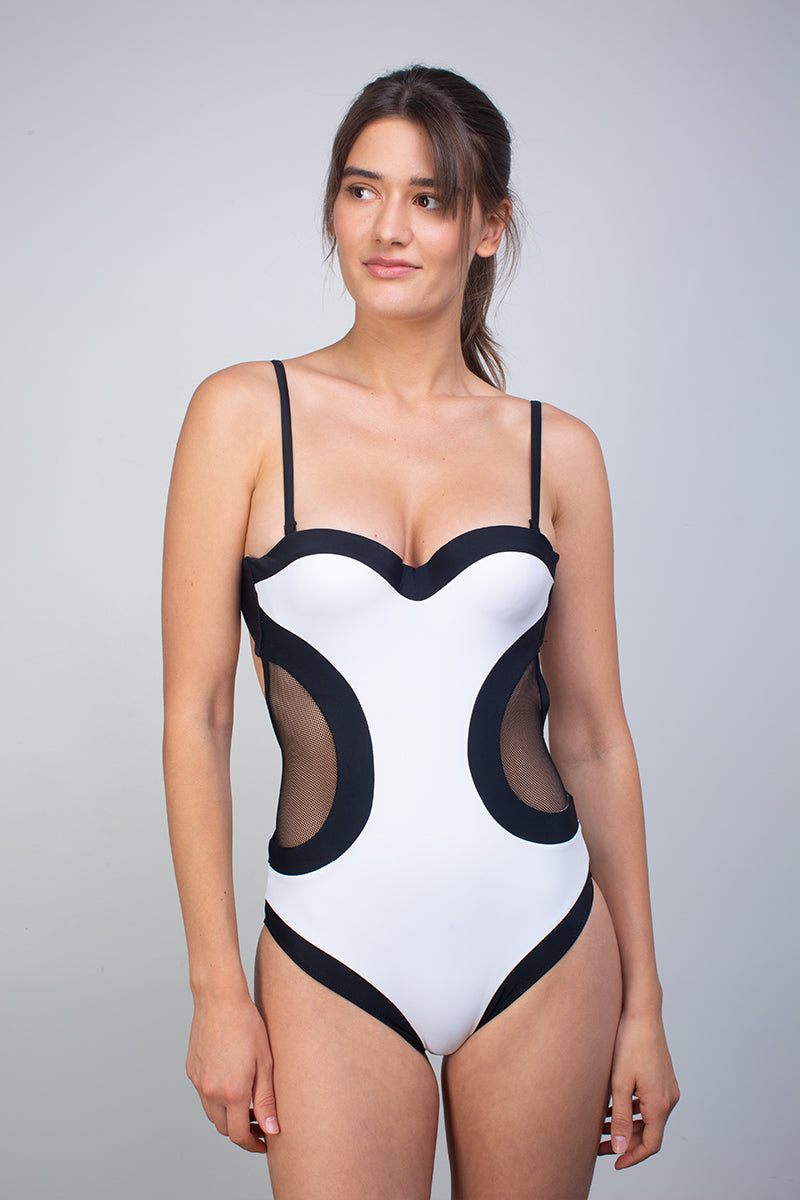 Maillot 1 pièce Black and White - Body Waves - Aulala Paris