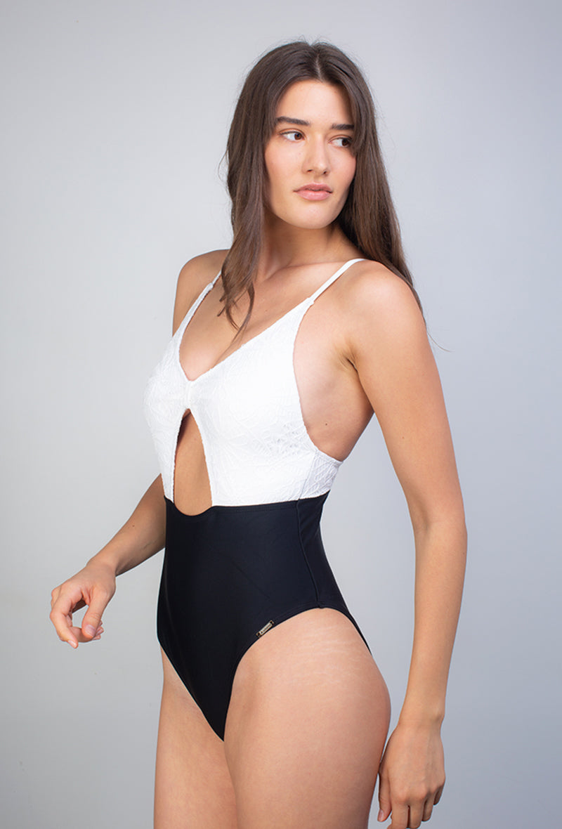 Maillot 1 pièce Black and White - Flawless - Aulala Swimwear