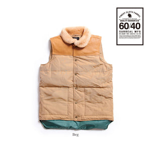 Kou_60/40 Cloth Grosgrain Boa Neck Down Vest