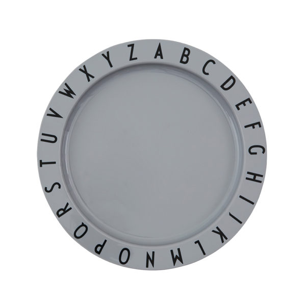 Eat and learn plate grey