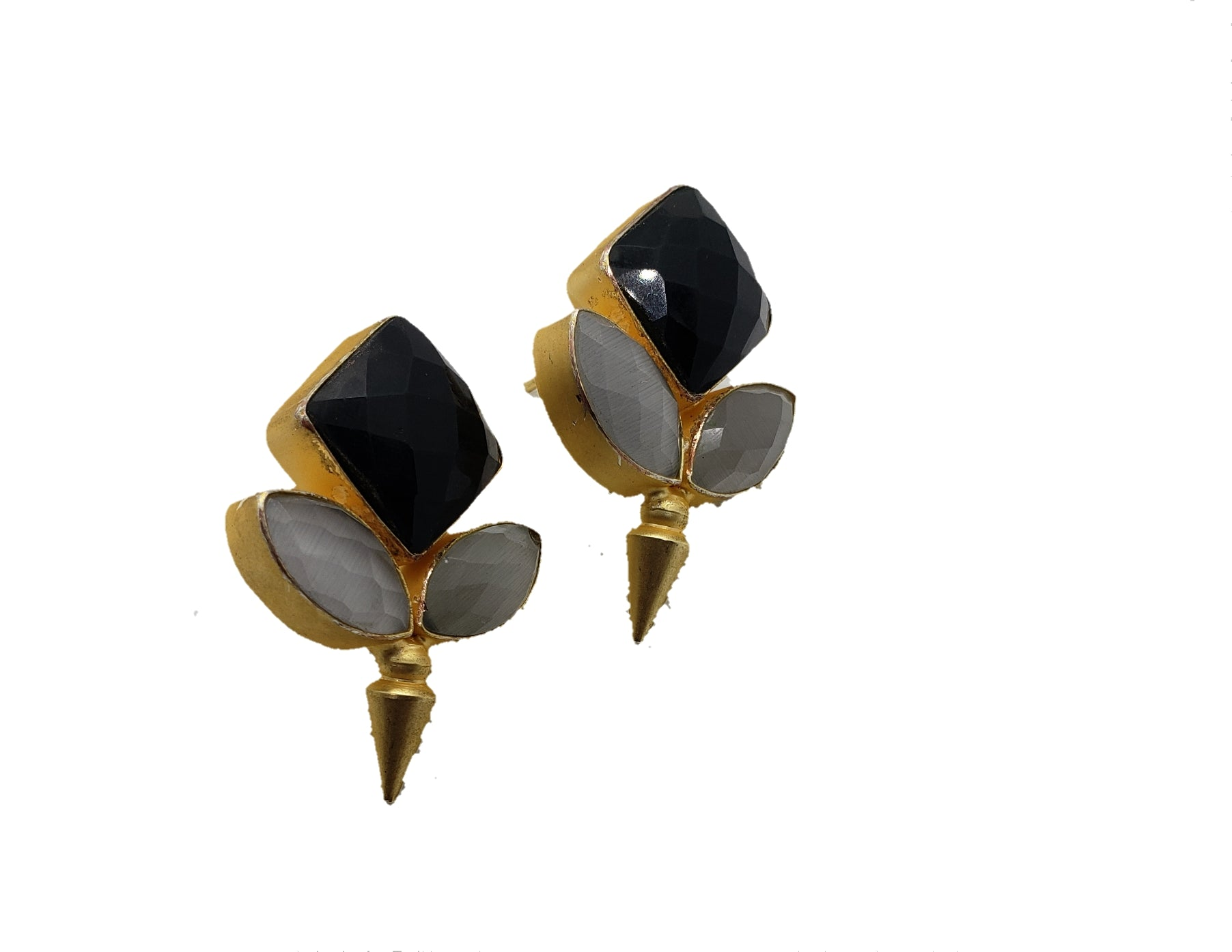 Black Stone Stud Earrings - The Bauble Shop
