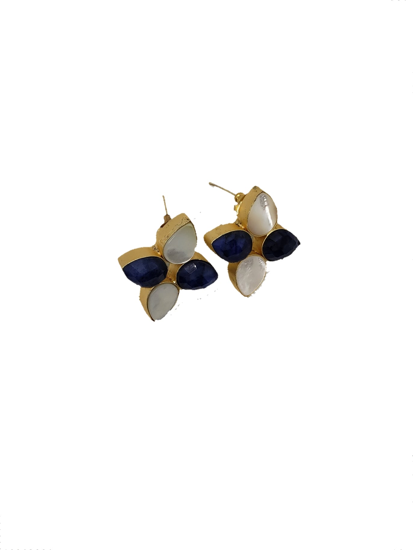 Blue Floral Stud Earrings - The Bauble Shop