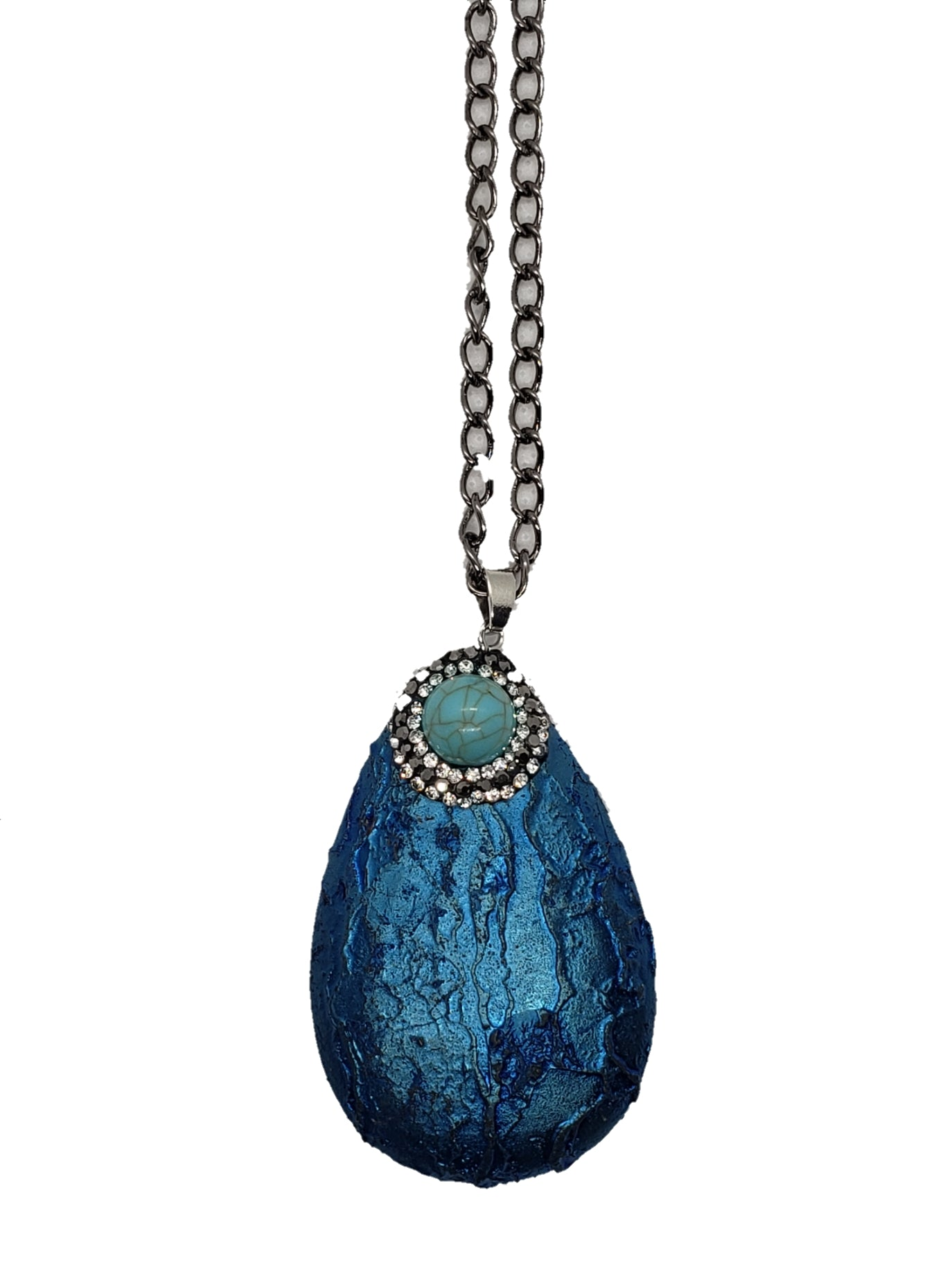 Bold Blue Agate Stone Necklace - The Bauble Shop