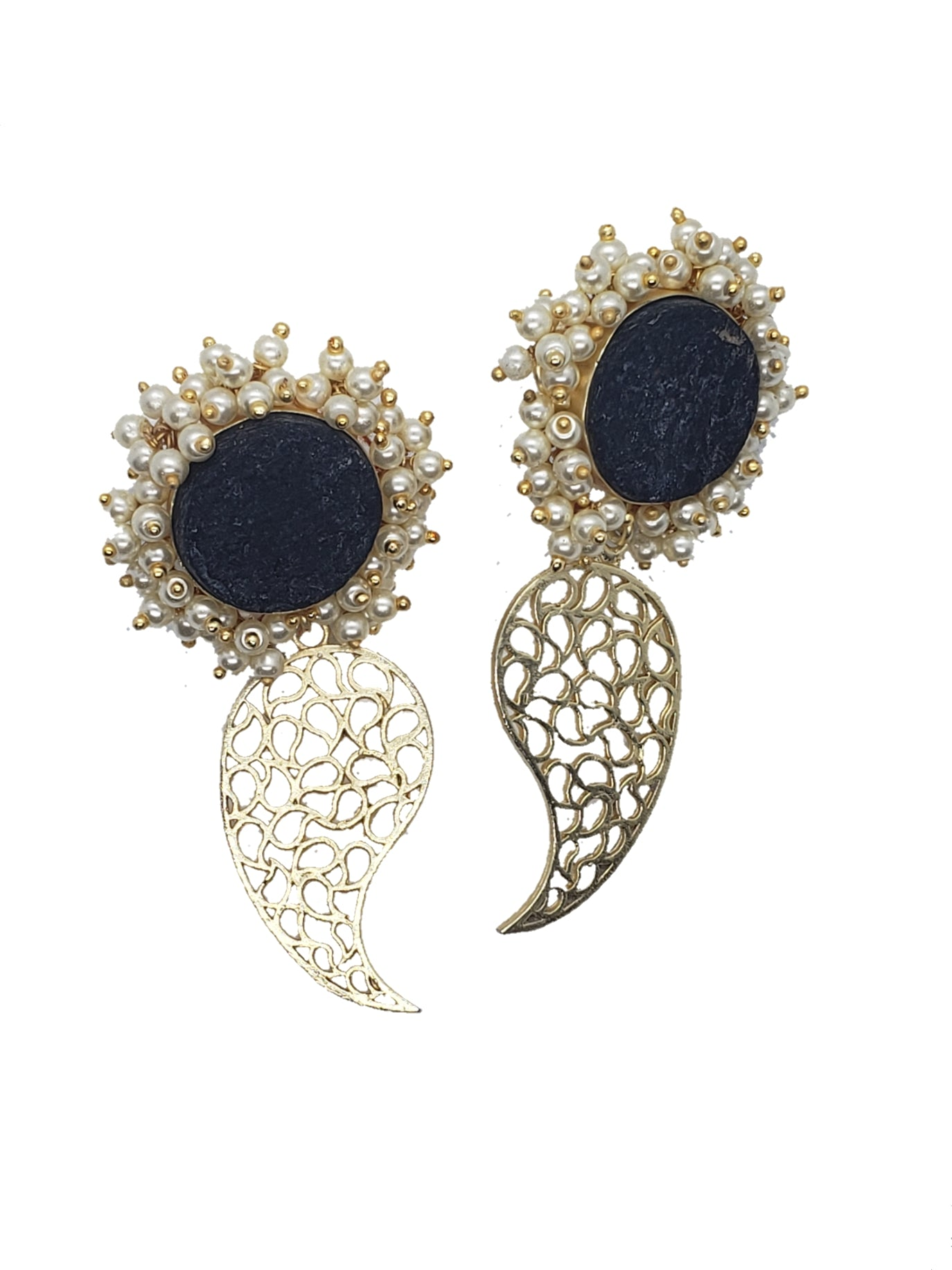 Raw Obsidian Drop Earrings - The Bauble Shop