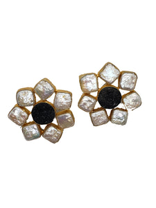 Obsidian and Nacre Floral Oversized Stud Earrings - The Bauble Shop
