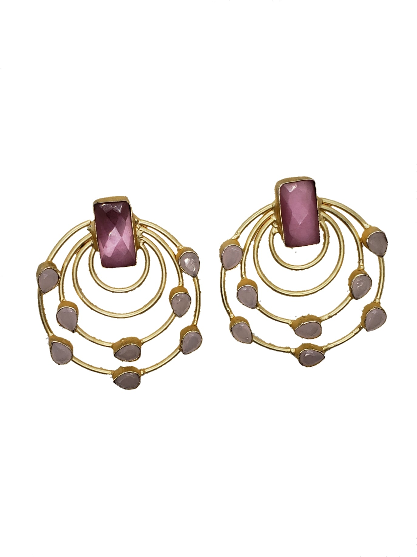 Pink Glass stone Stud Earrings - The Bauble Shop