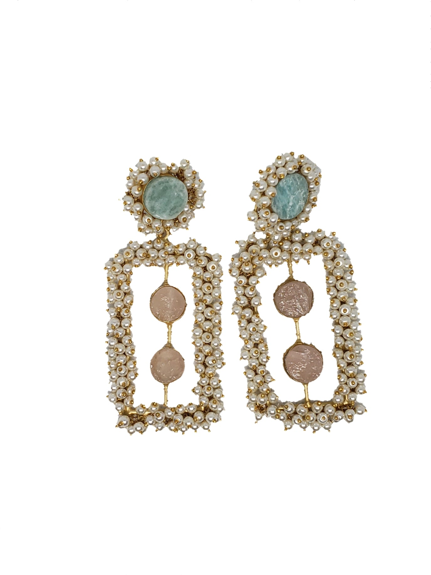 Amazonite and Rose quartz block earrings - The Bauble Shop