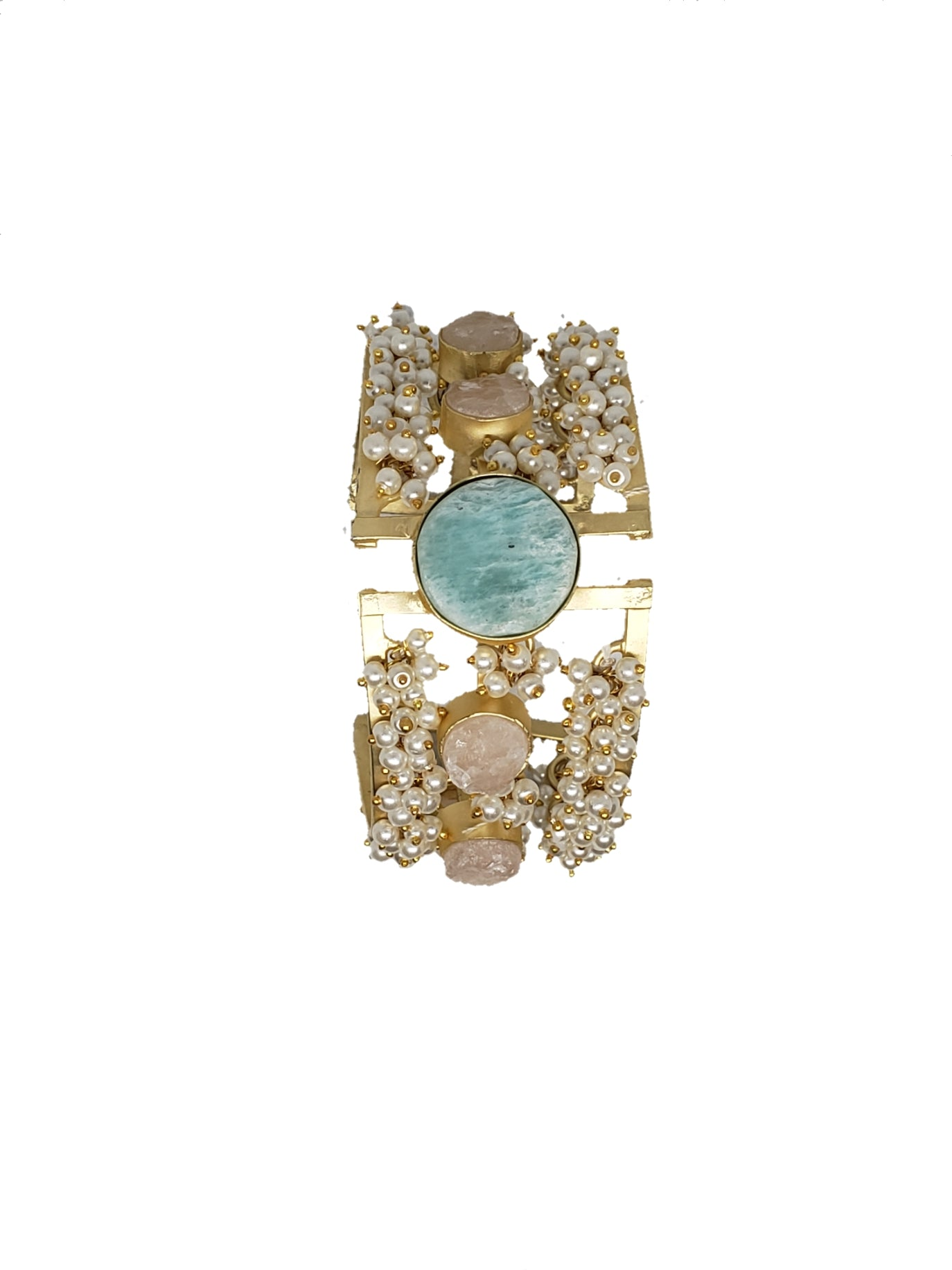 Amazonite and Rose Quartz Cuff Bracelet - The Bauble Shop