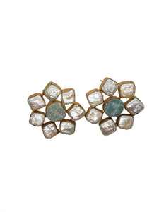 Amazonite and mother of pearl Stud earrings - The Bauble Shop