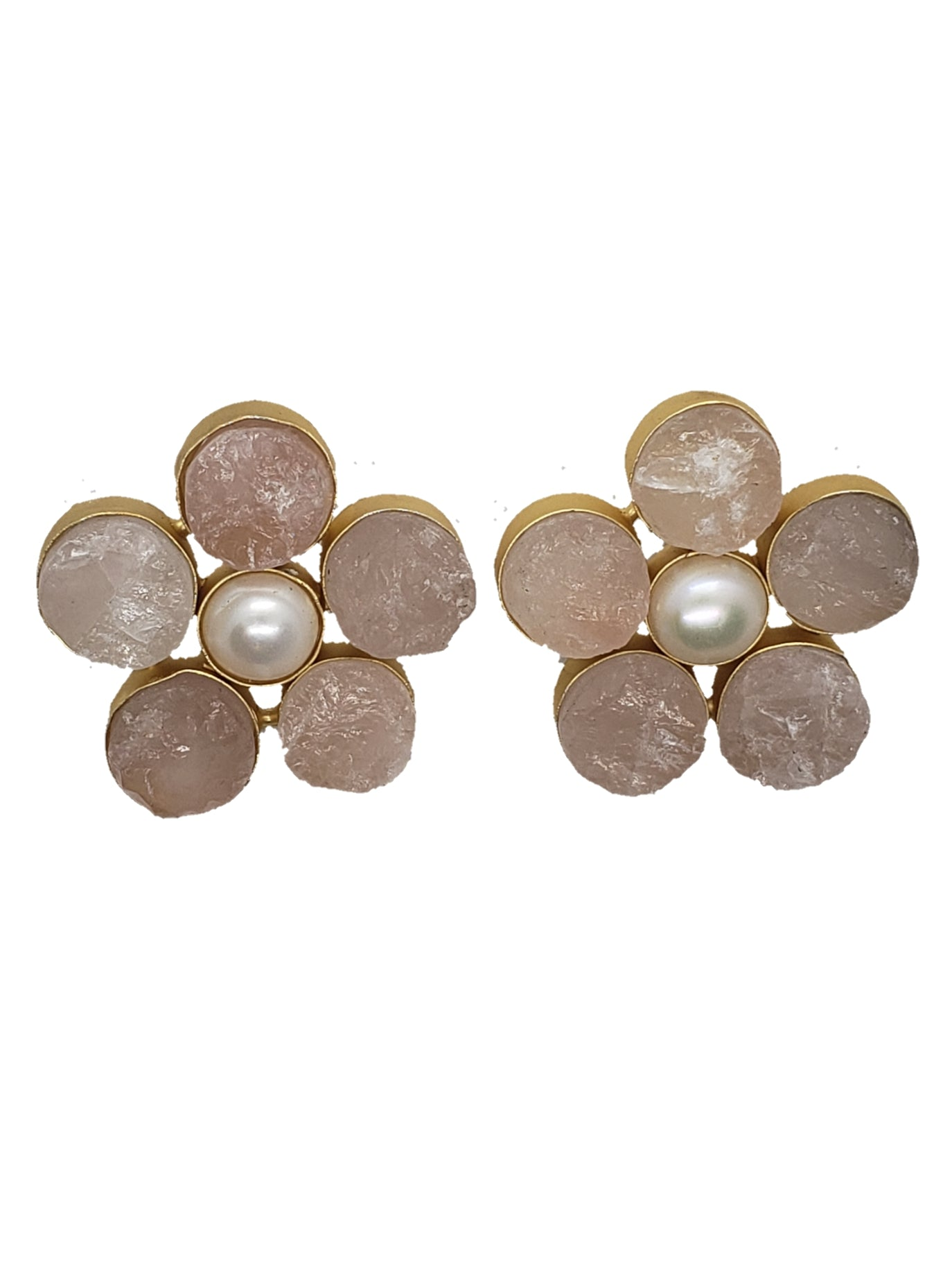 Raw Rose Quartz Stud Earrings - The Bauble Shop
