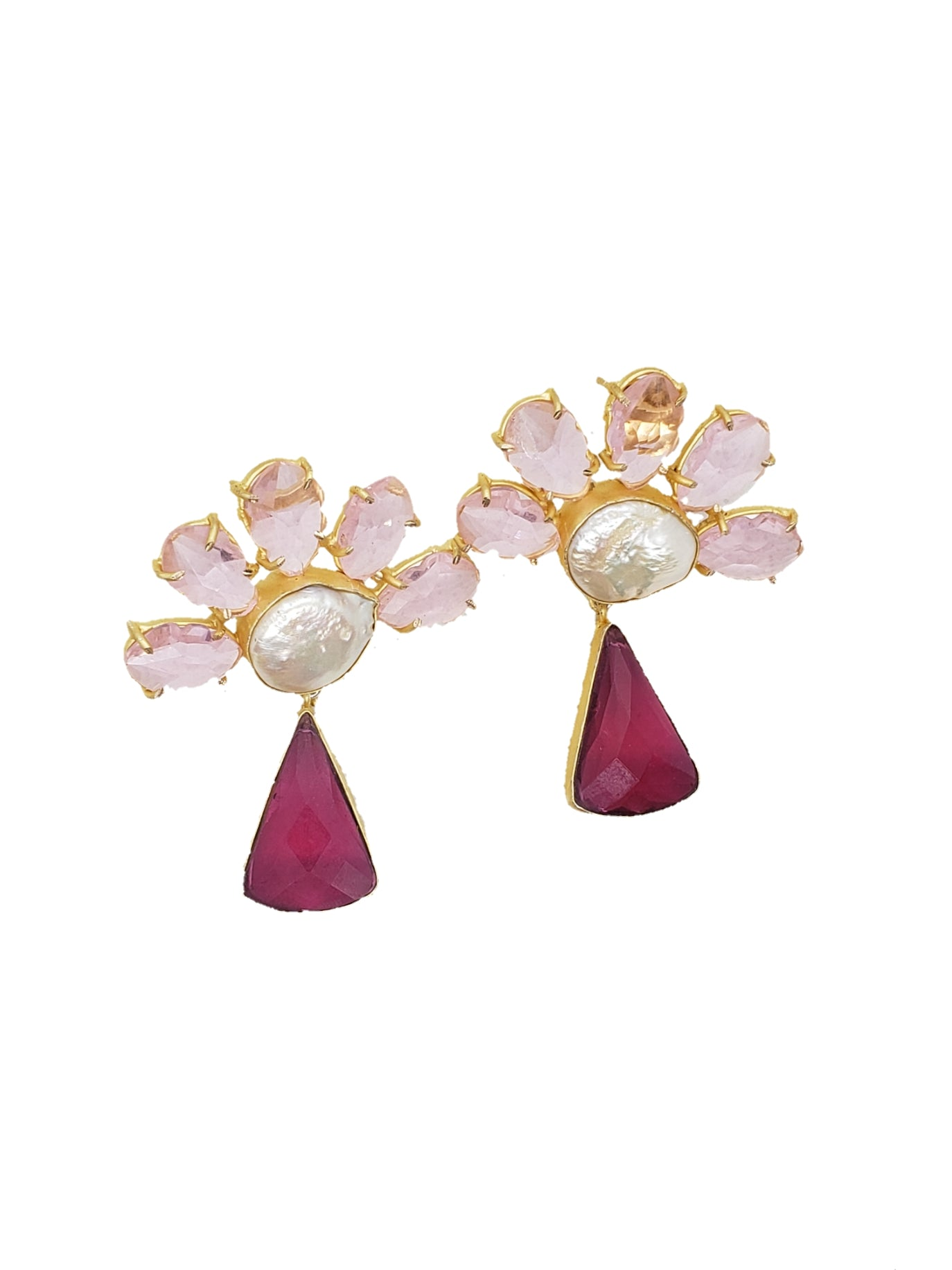 Pink Crystal Stone and Mother of Pearl Earrings - The Bauble Shop