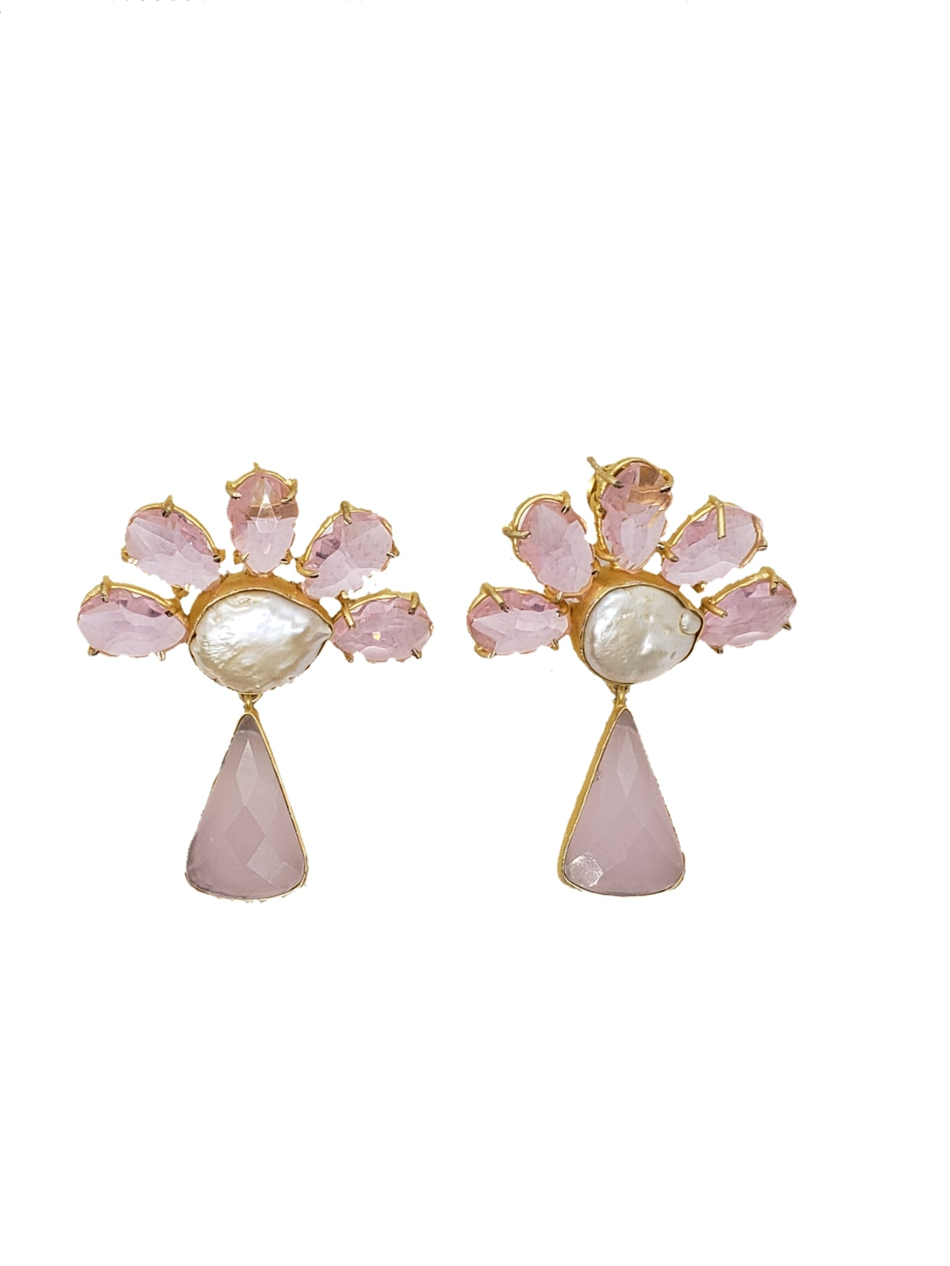 Rose Quartz and Mother of Pearl Floral Earrings - The Bauble Shop