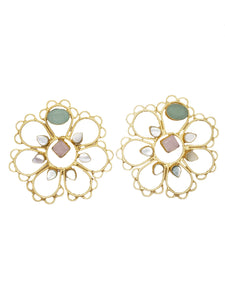 Chalcedony Floral Over Sized Studs - The Bauble Shop