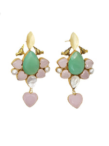 Rose Quartz and Green Chalcedony Drop Earrings - The Bauble Shop