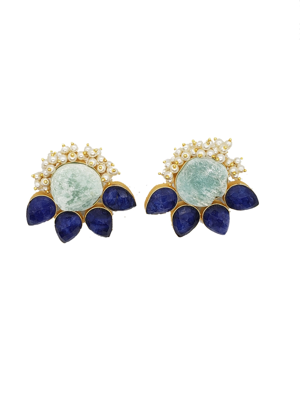 Amazonite and Blue Stone Stud Earrings - The Bauble Shop