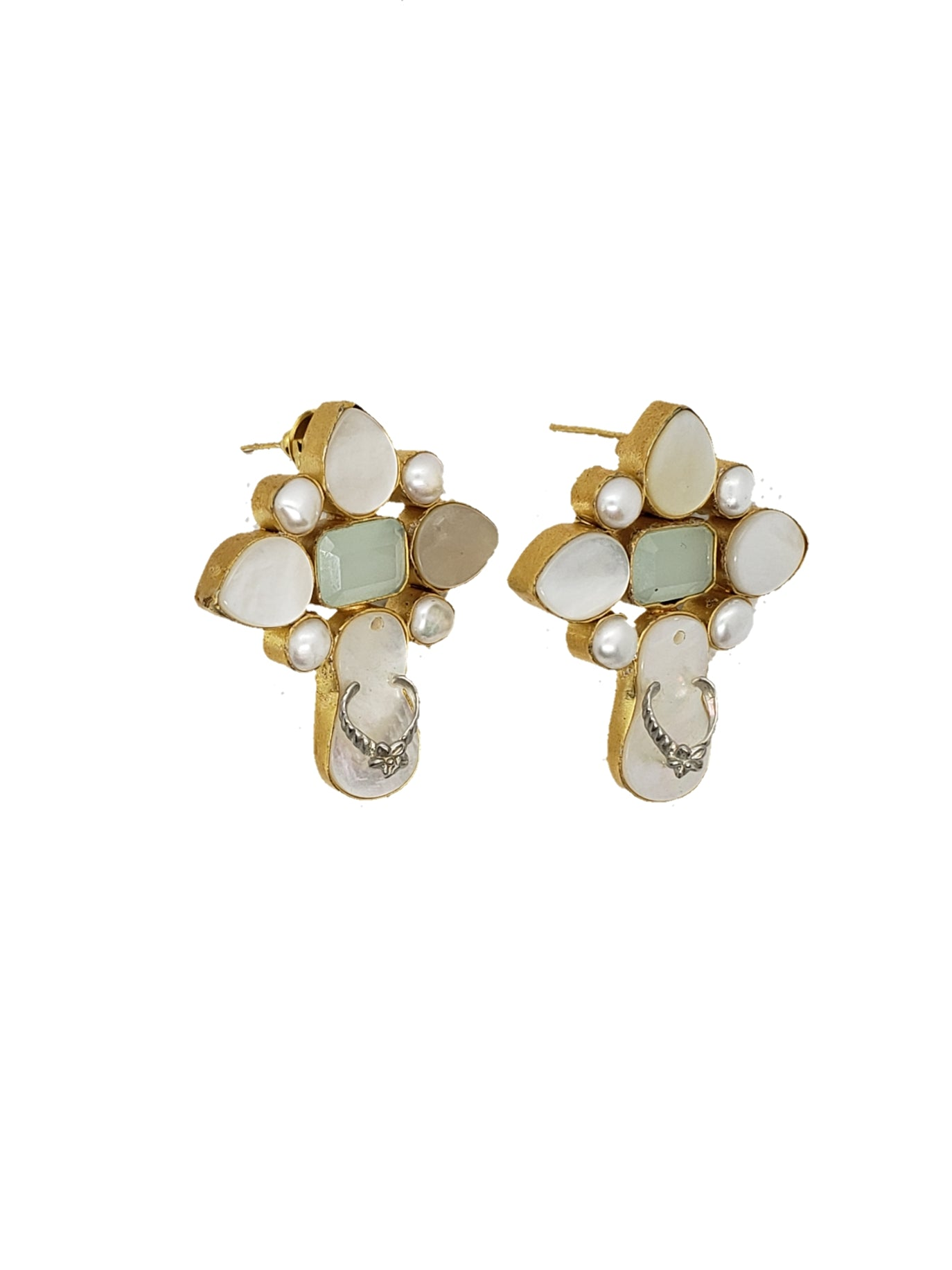 Chalcedony and Slipper Stone Stud Earrings - The Bauble Shop