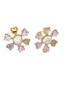Pink Crystal Floral Earrings - The Bauble Shop