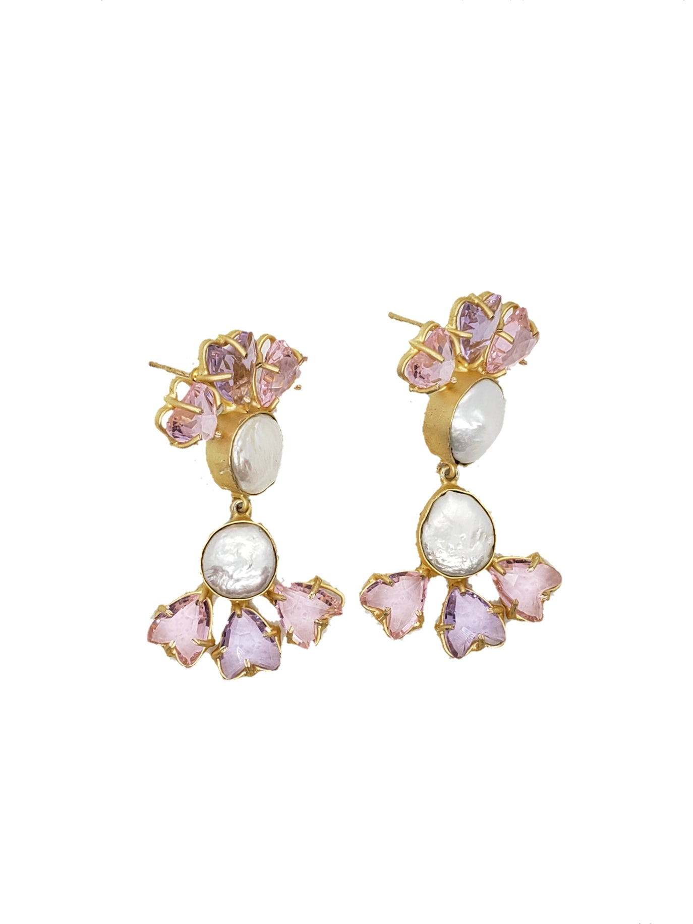 Pink Crystal and Mother of Pearl Drop Earrings - The Bauble Shop