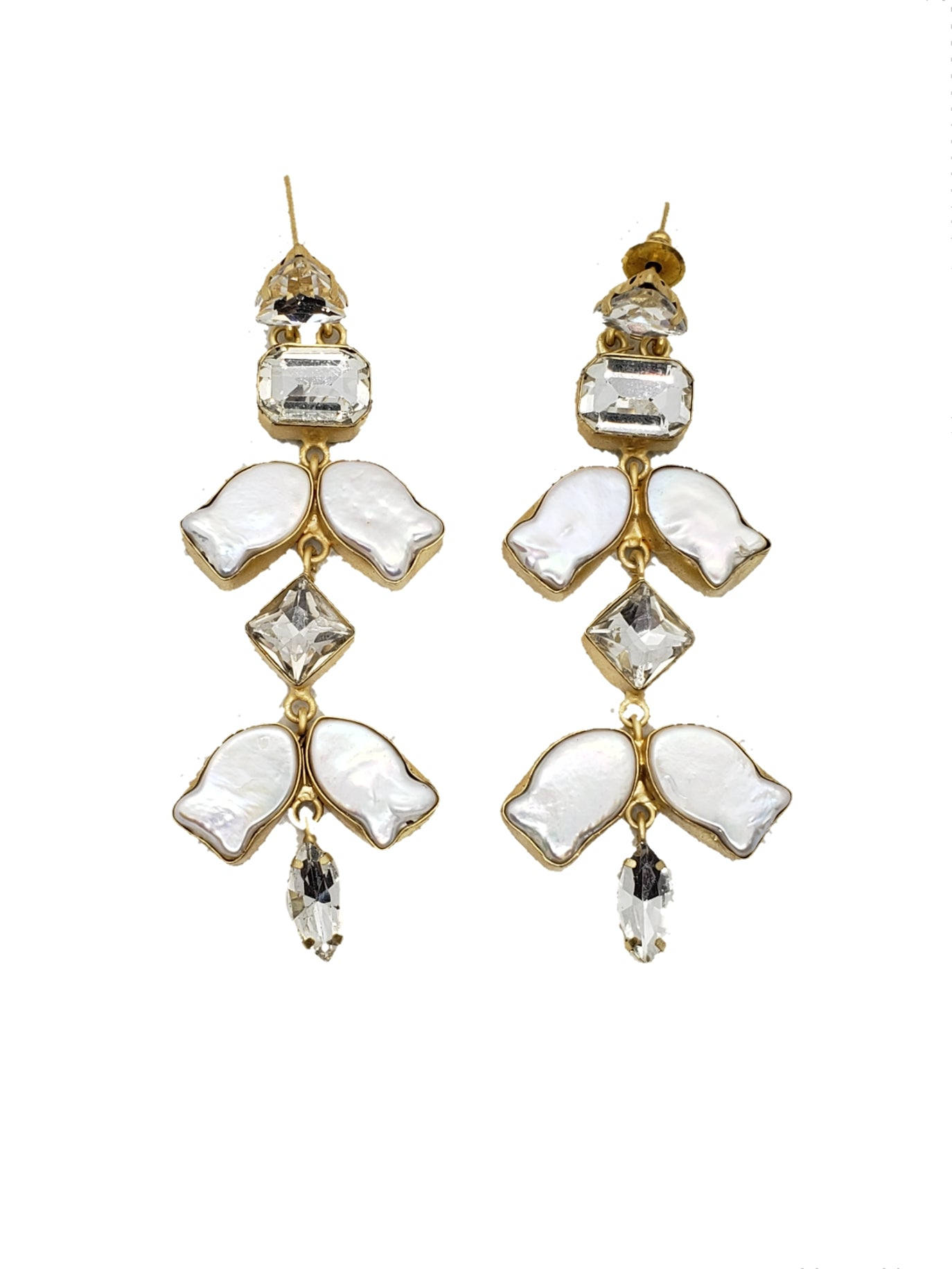 Mother of pearl and Cubic Zirconia Dangle Earrings - The Bauble Shop