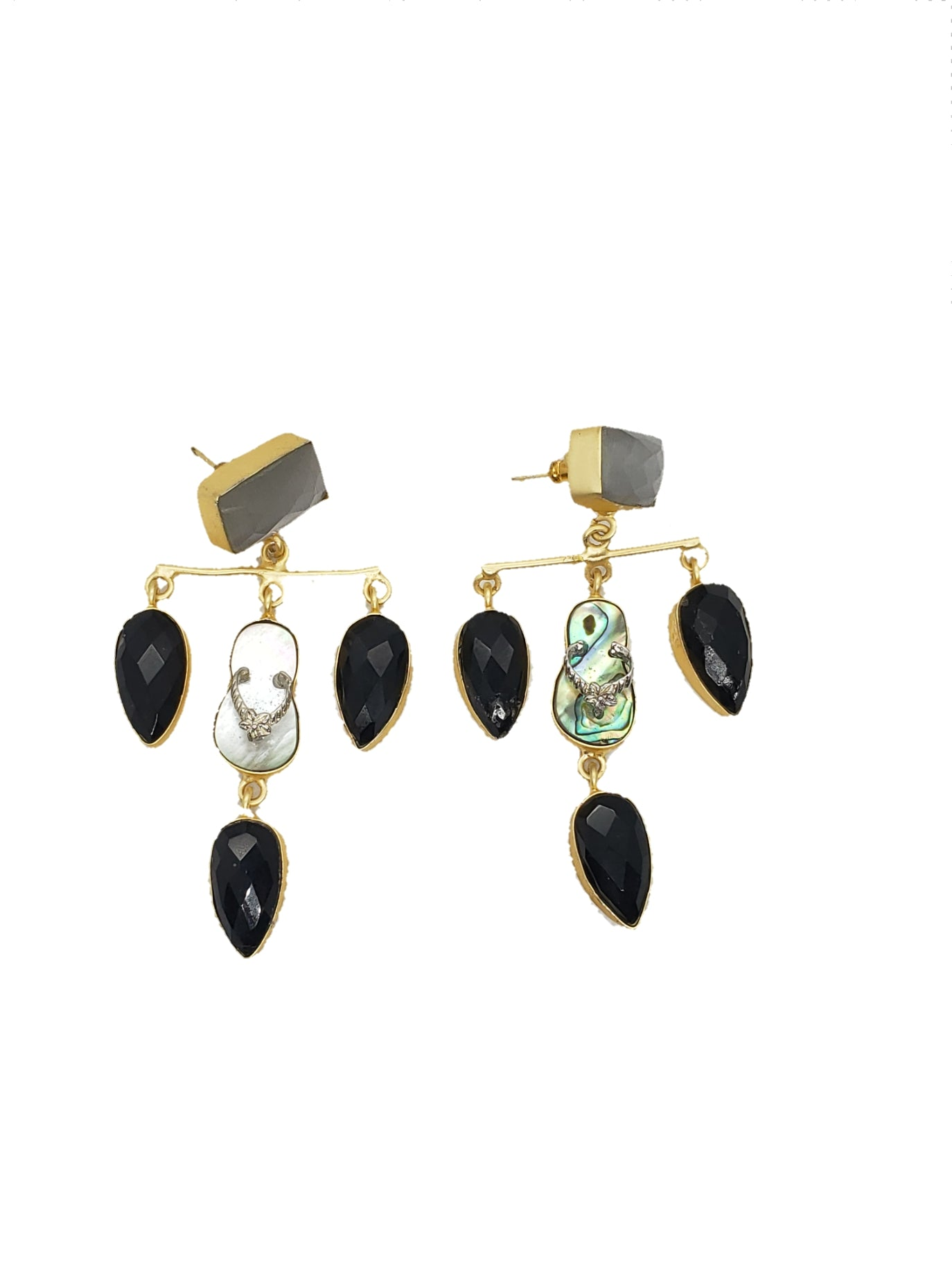 Slipper and Onyx Glass Earrings - The Bauble Shop