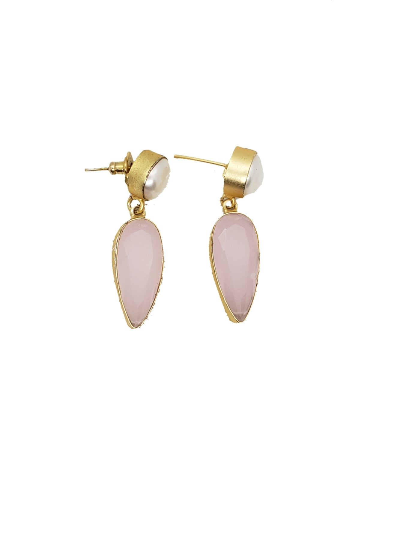 Rose Quartz and Pearl Earring - The Bauble Shop