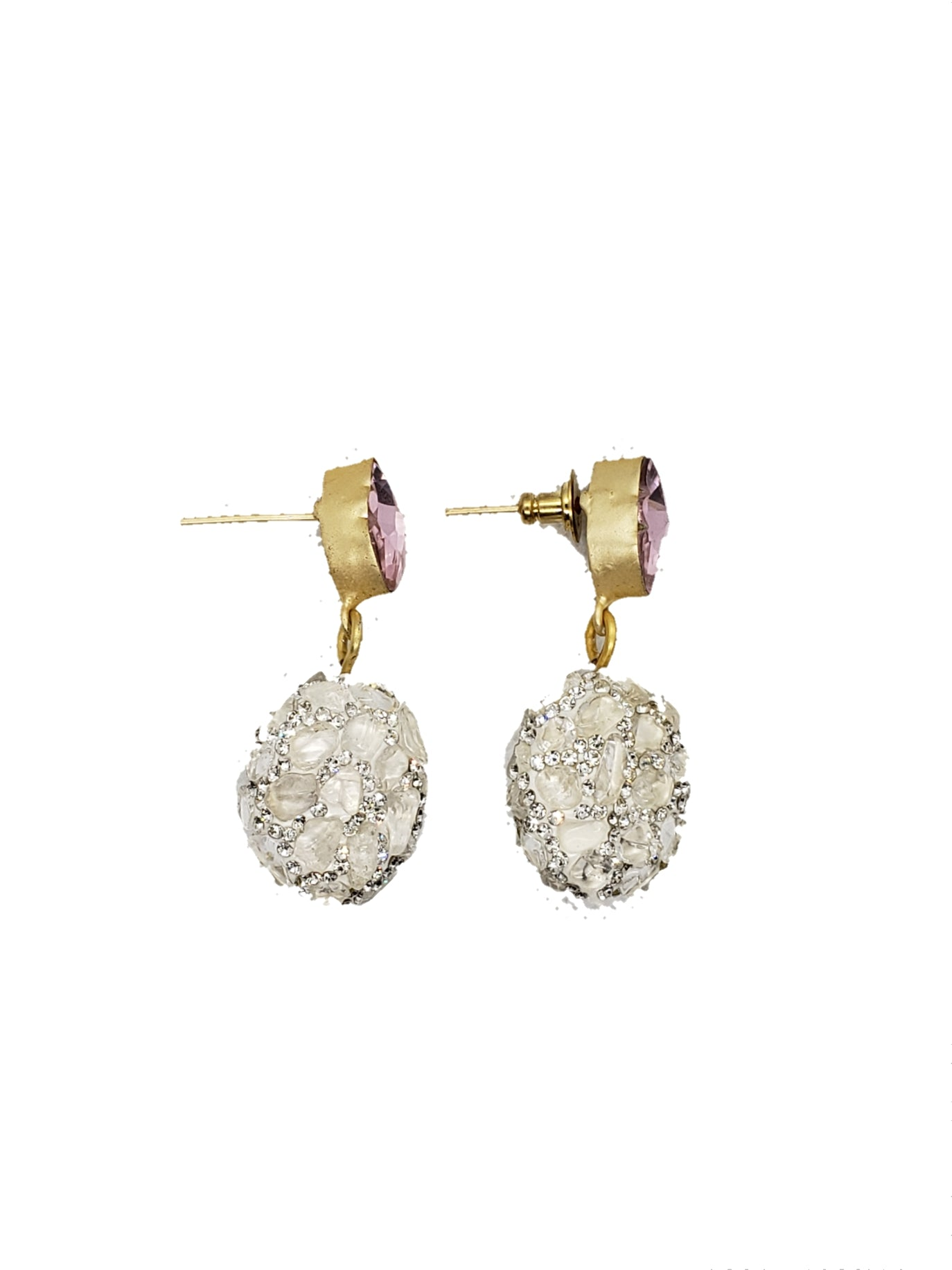 White Rough Stone Drop Earrings - The Bauble Shop