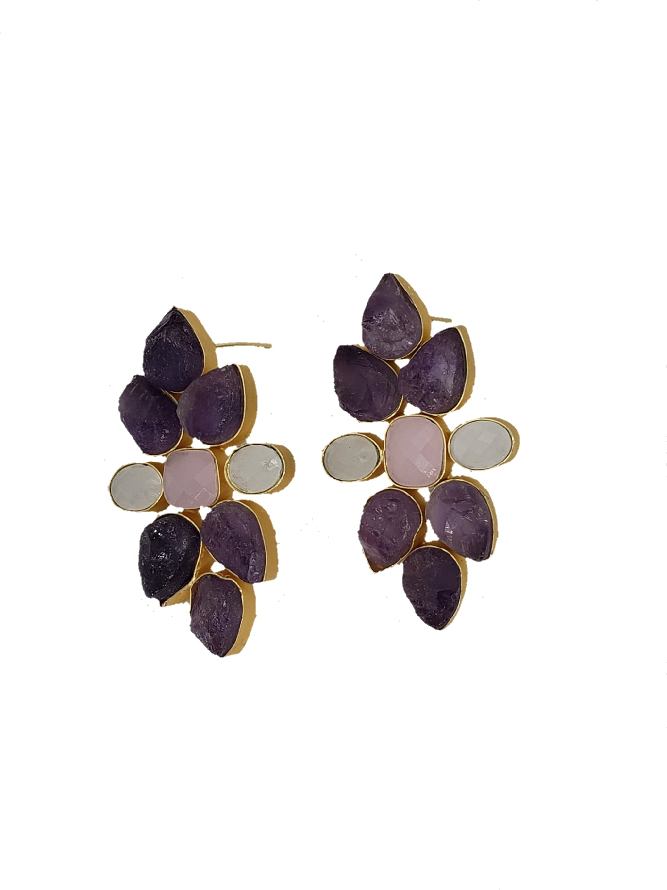 Amethyst and Rose Quartz Statement Earrings - The Bauble Shop
