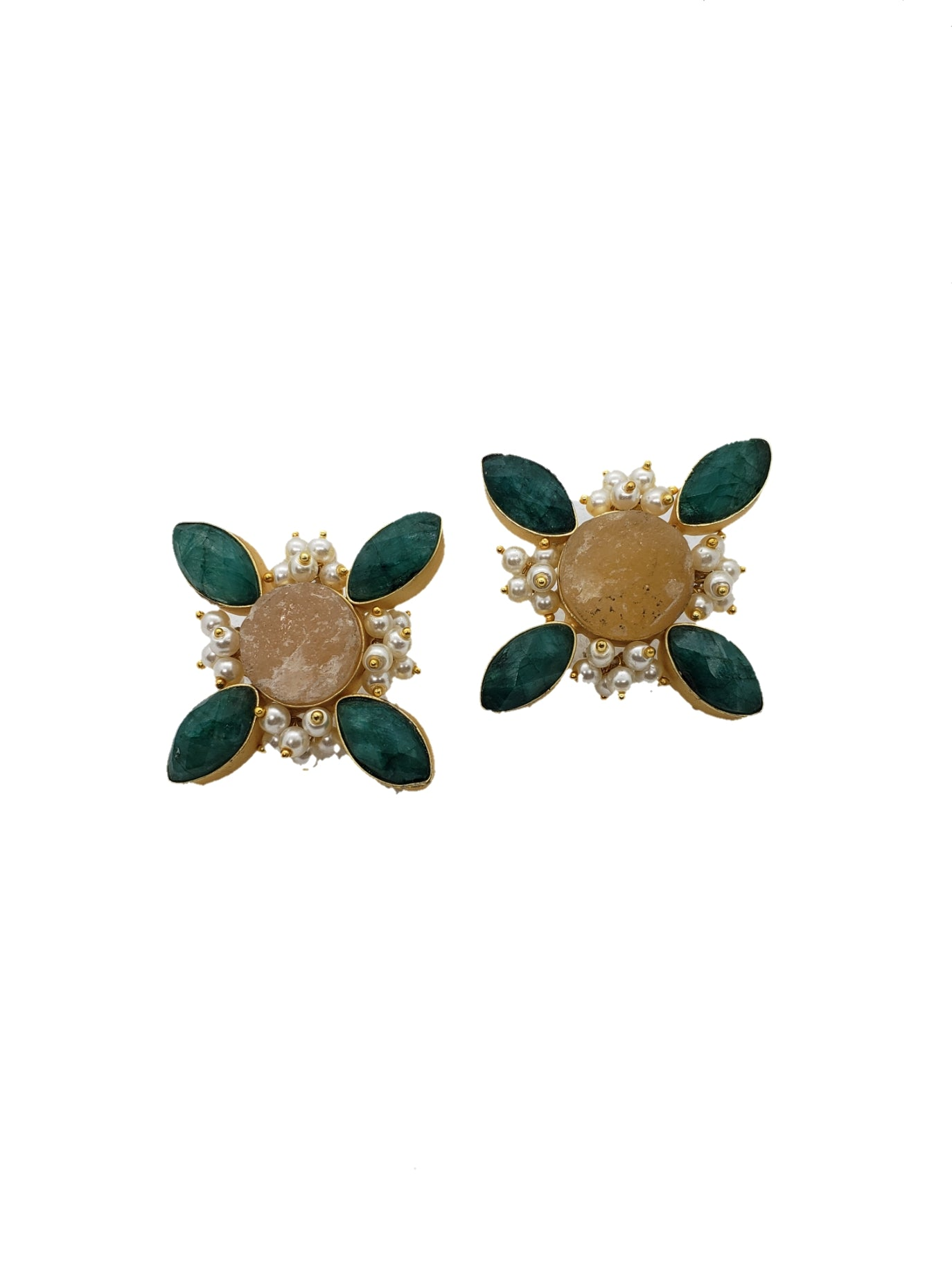 Citrine and Green Stone Diagonal Stud Earrings - The Bauble Shop