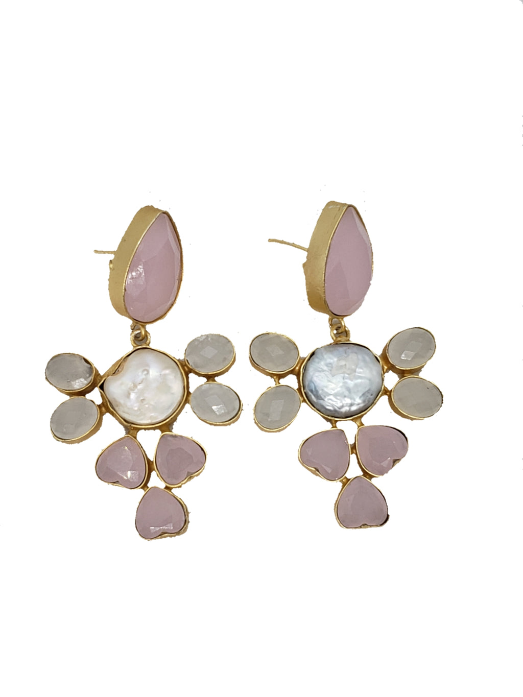 Rose Quartz and Mother of Pearl Drop Earrings - The Bauble Shop