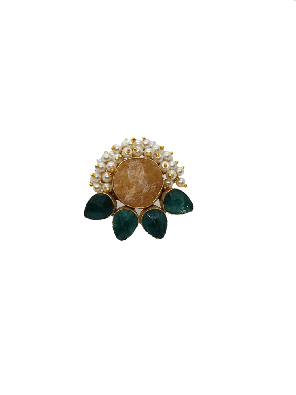 Citrine and Green Stone Ring - The Bauble Shop