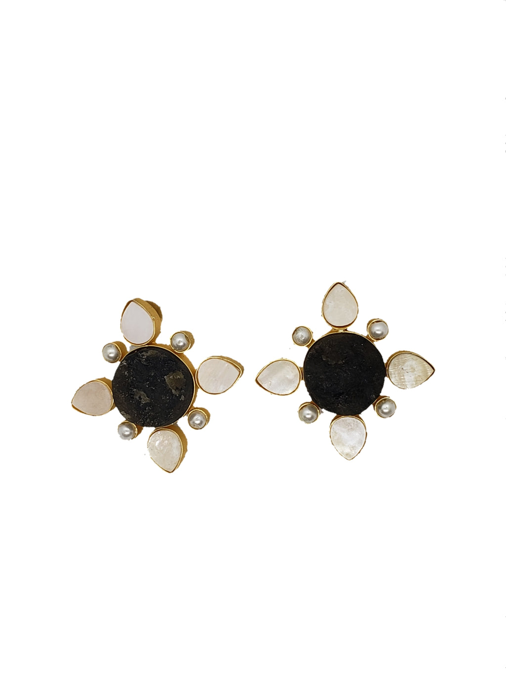 Obsidian and mother of pearl Stud Earrings - The Bauble Shop