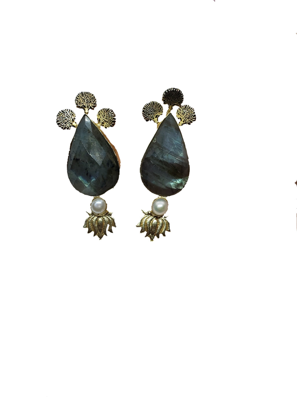 Labradorite Stone Stud Earrings - The Bauble Shop