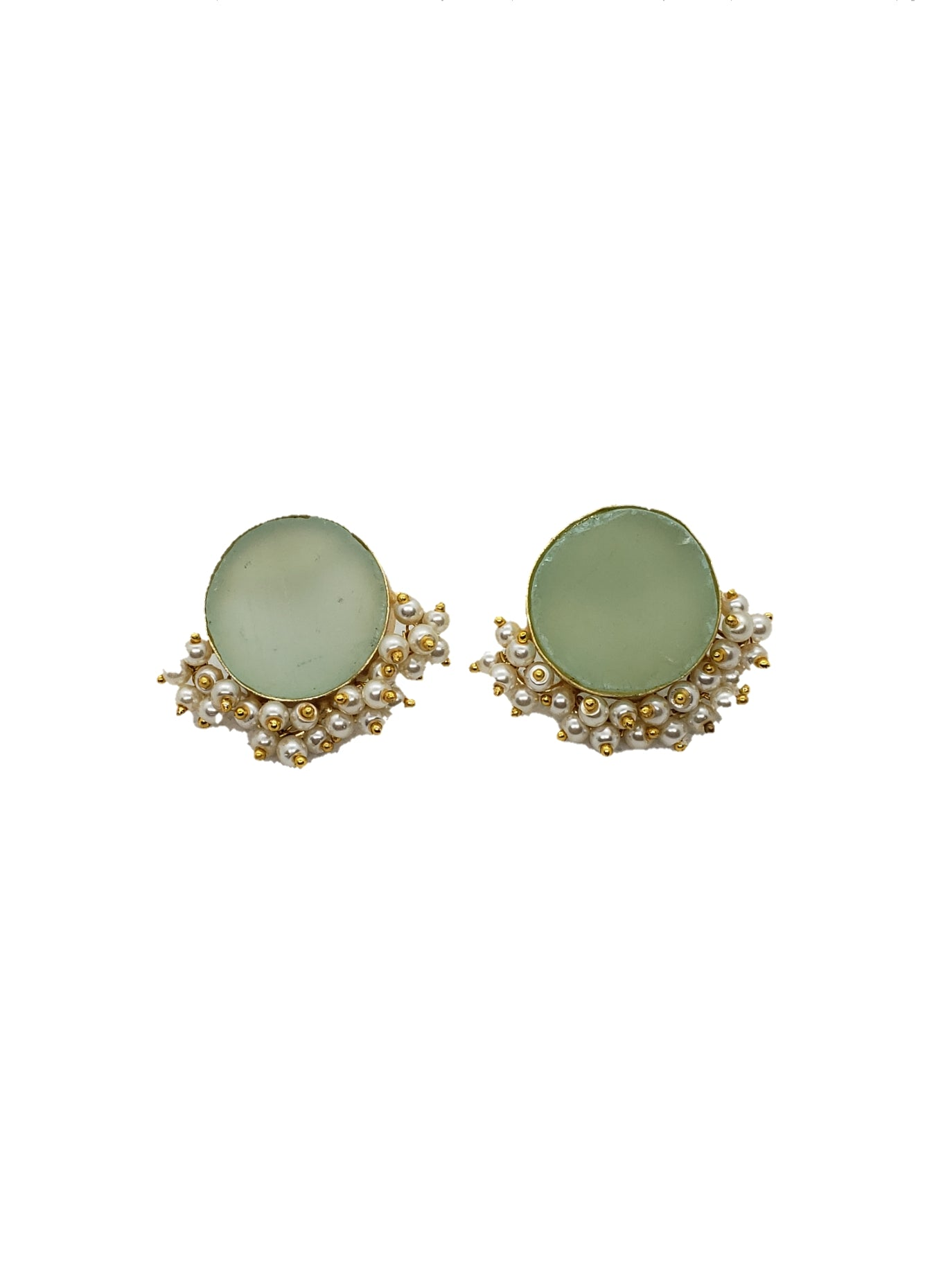 Amazonite Half Clustered Pearl Earrings - The Bauble Shop
