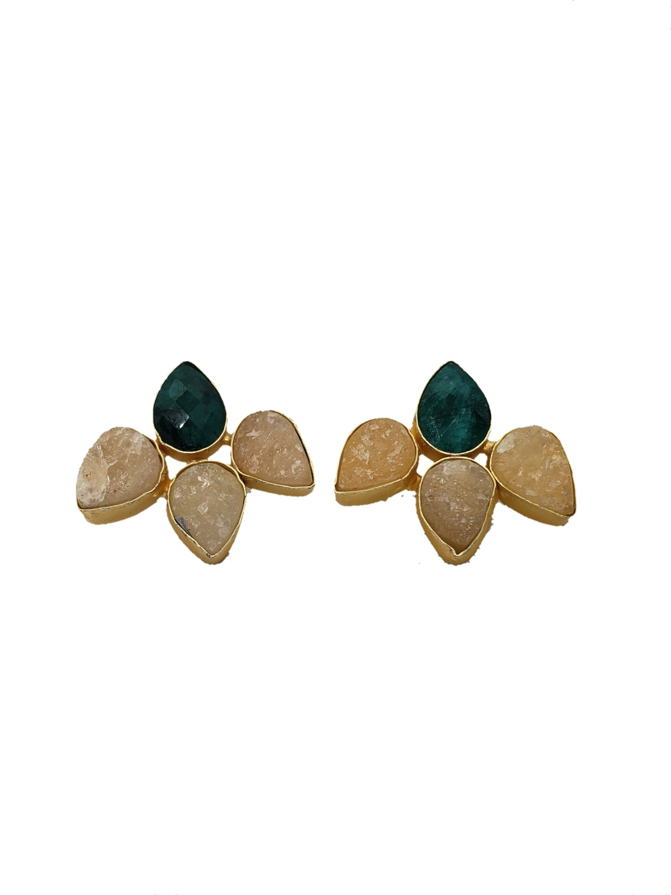 Citrine and Green Stone Stud Earrings - The Bauble Shop