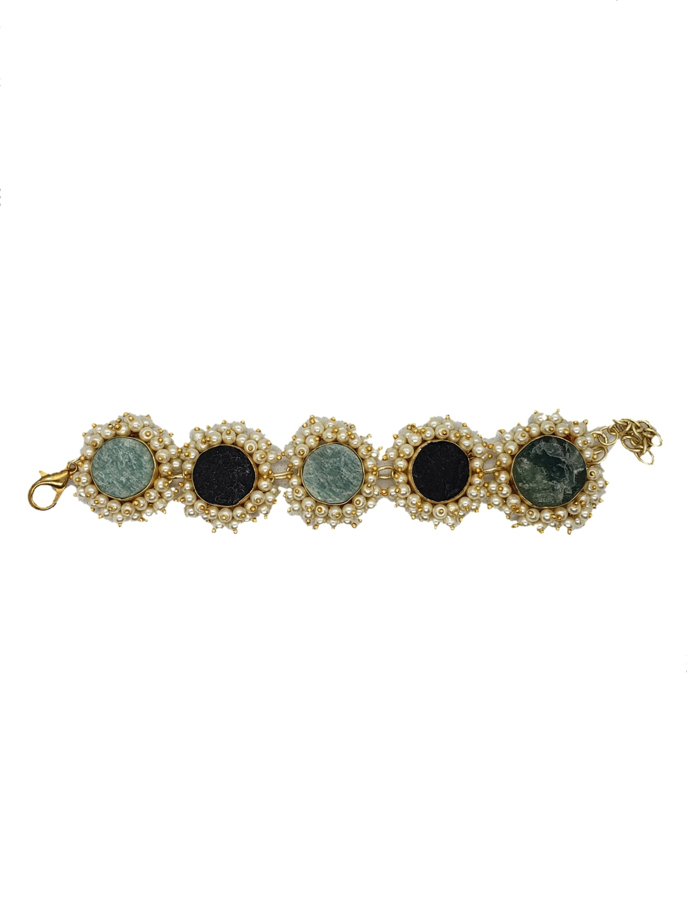 Amazonite and Obsidian Stone Bracelet - The Bauble Shop