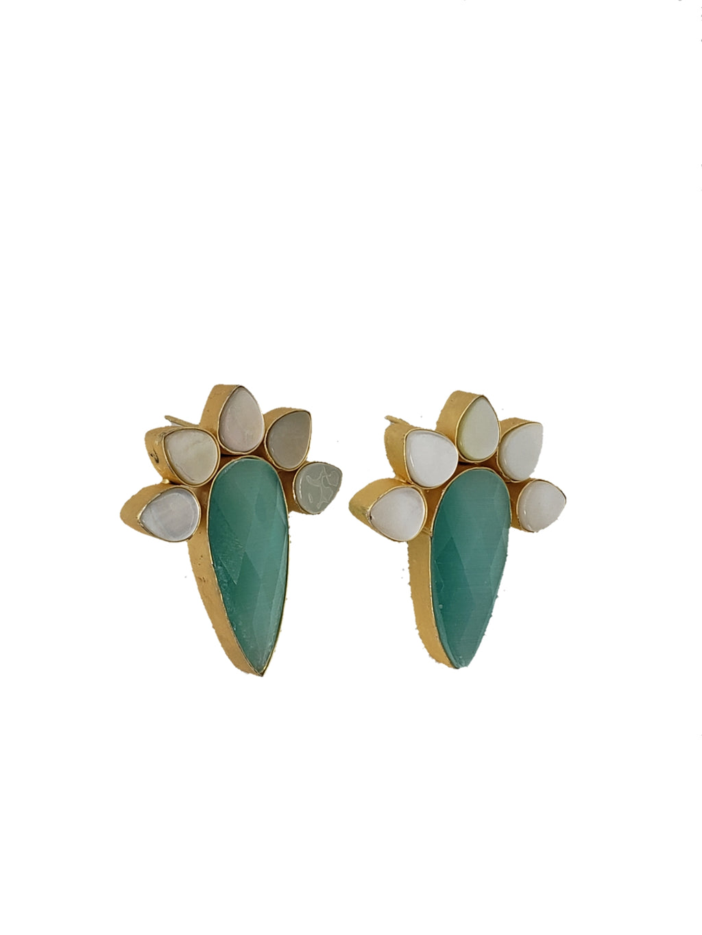 Turquoise Glass Stone and Mother of Pearl Stud Earrings - The Bauble Shop