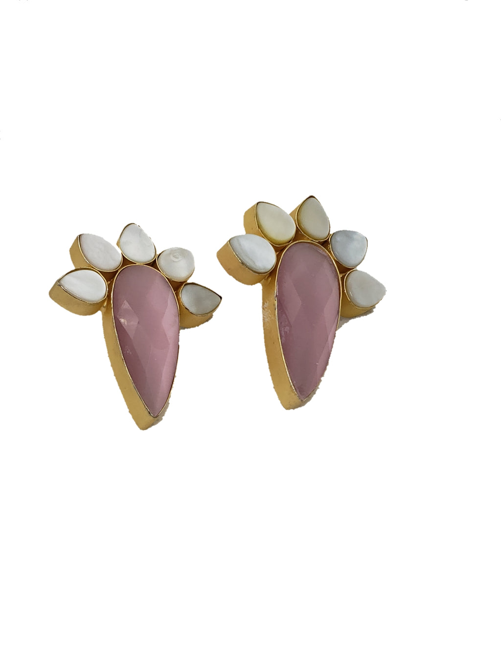 Pink GlassStone and Mother of Pearl Stud Earrings - The Bauble Shop