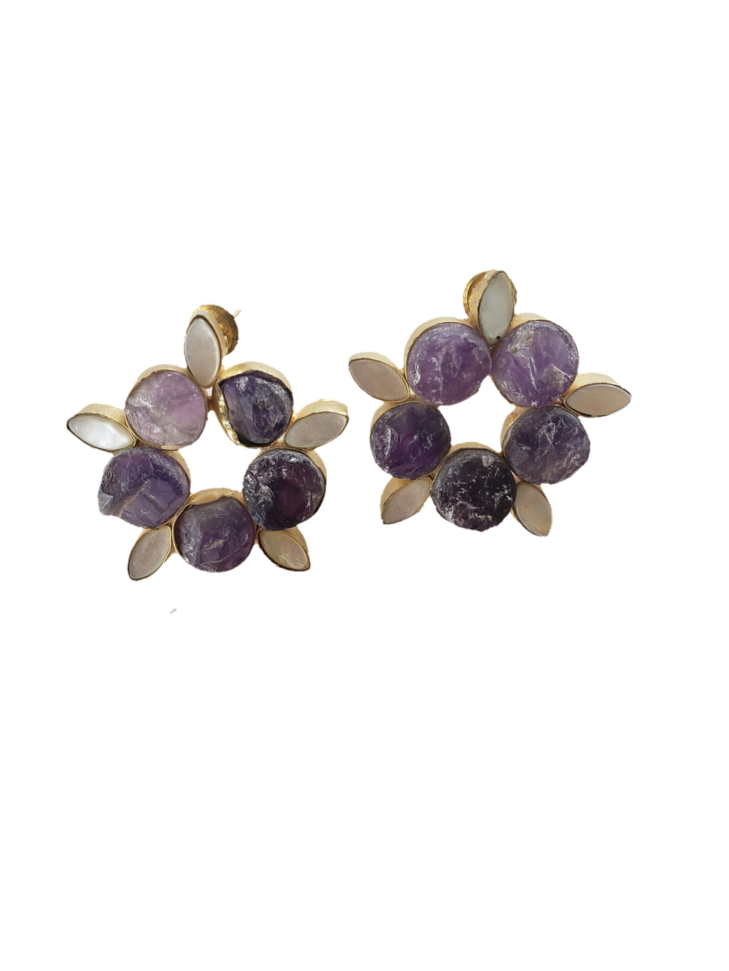 Amethyst and Mother of Pearl Stud Earrings - The Bauble Shop