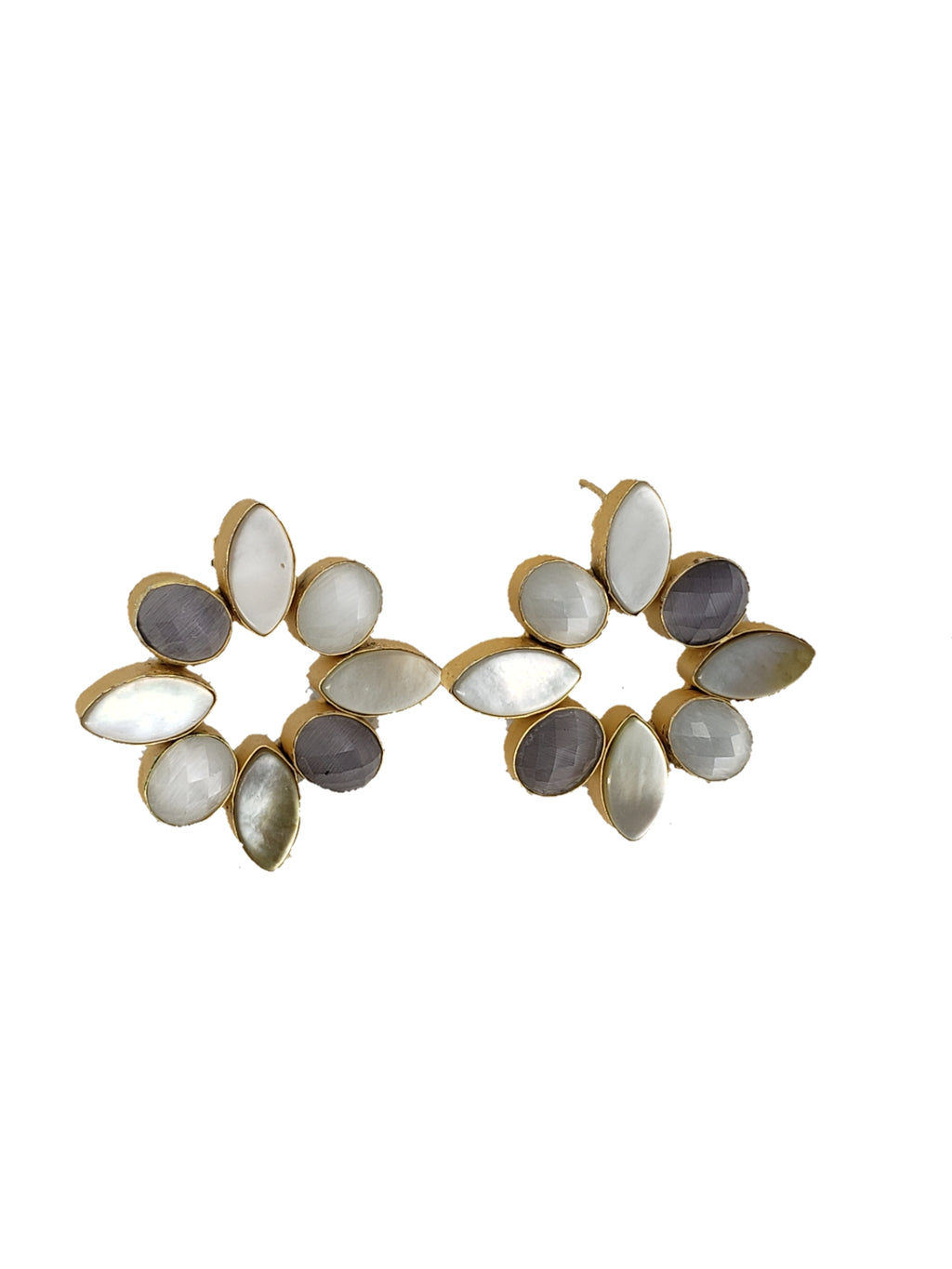 Lavender and Mother of Pearl Stud Earrings - The Bauble Shop