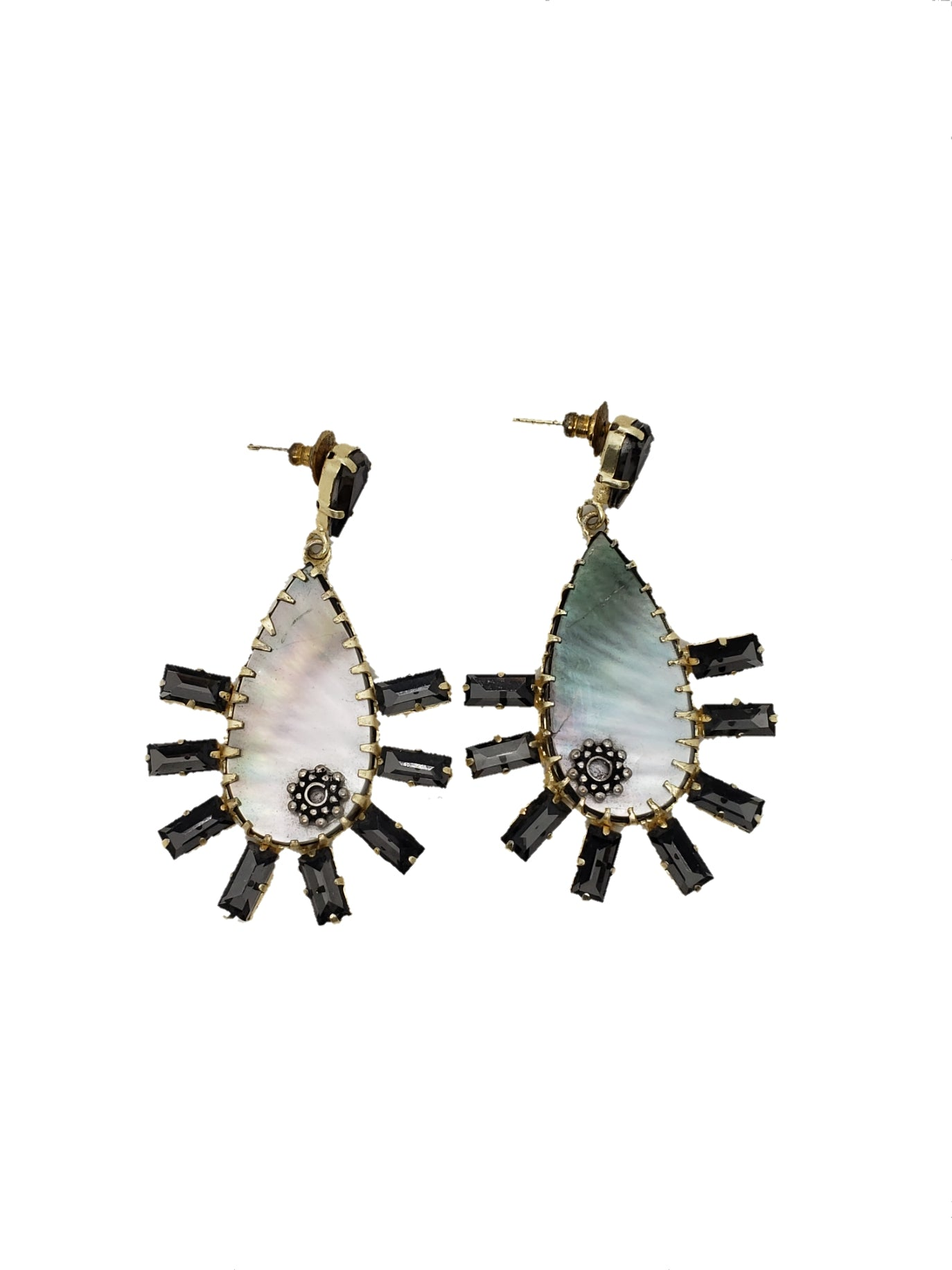 Mother of Pearl and Cubic Zirconia Statement Earrings - The Bauble Shop