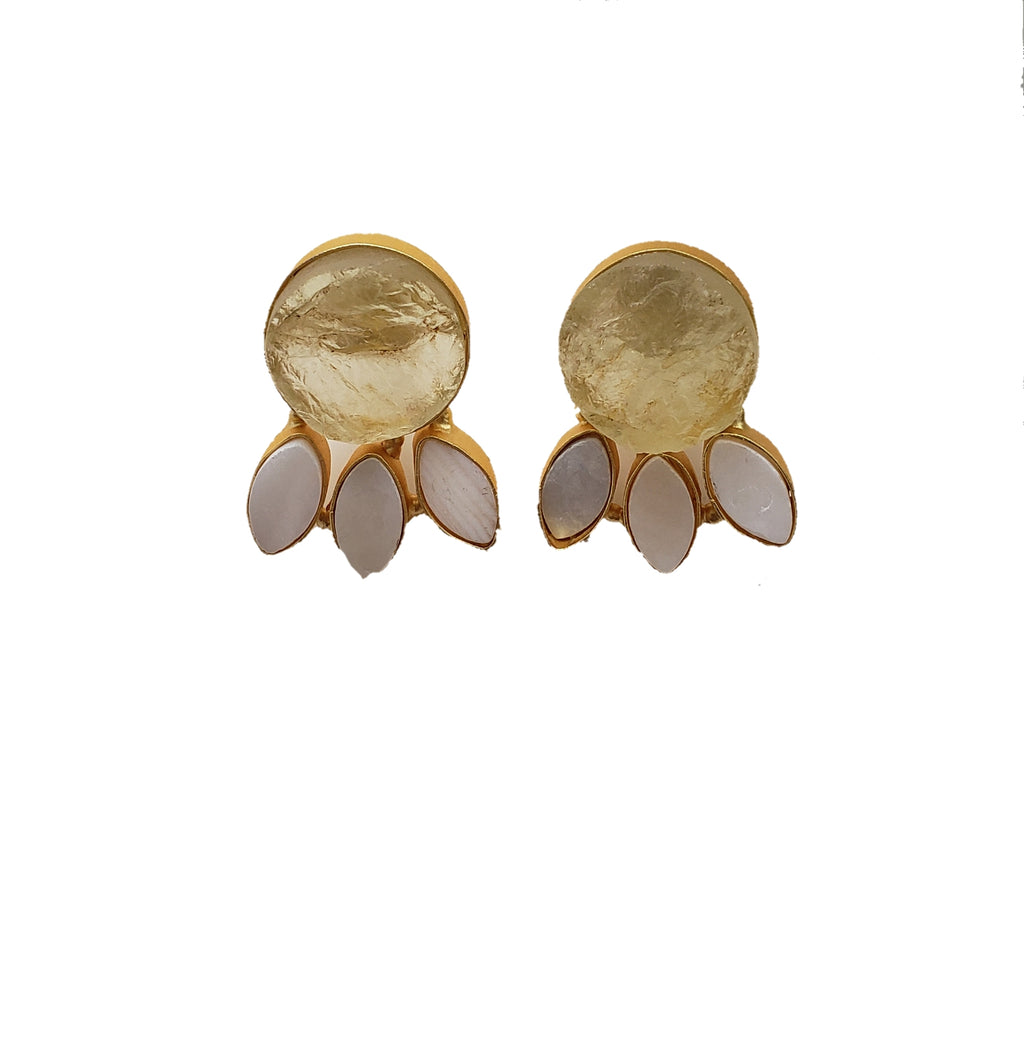 Yellow Quartz Stud Earrings - The Bauble Shop