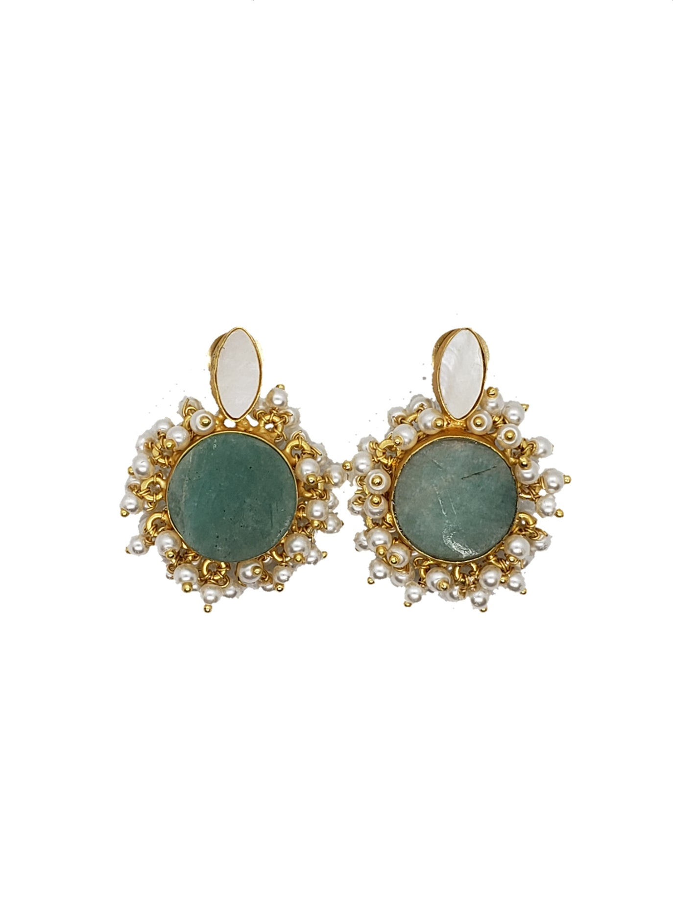 Amazonite and Clustered Pearls Stud Earrings - The Bauble Shop