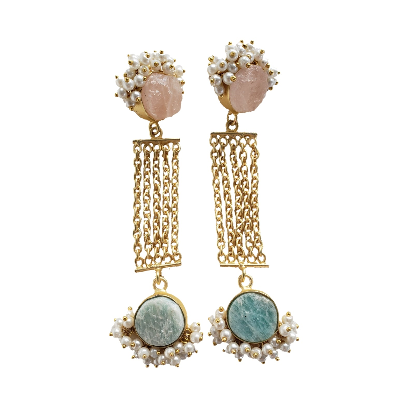 Amazonite and rose quartz dangle earrings - The Bauble Shop