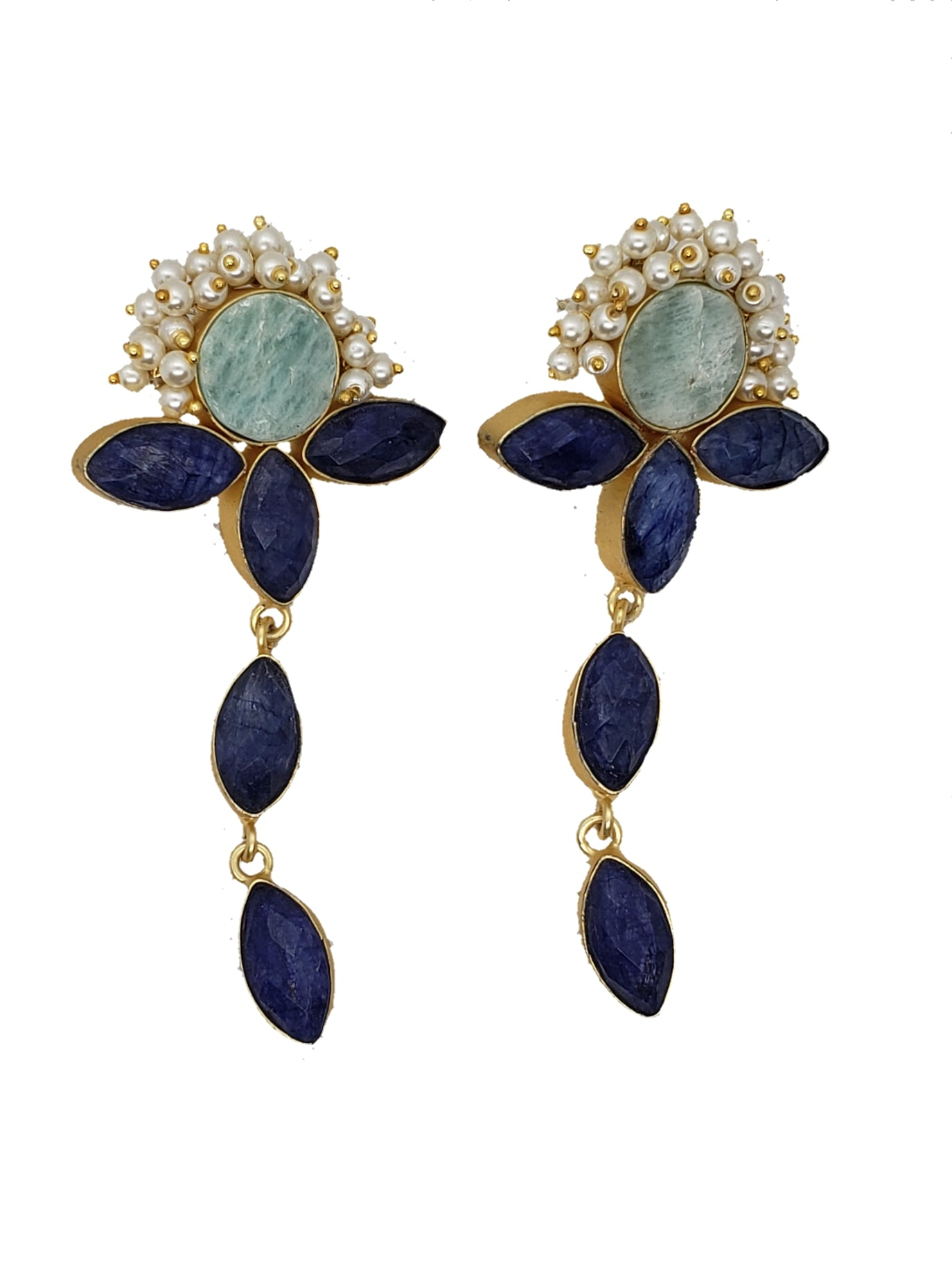 Lapis stone and amazonite drop earrings