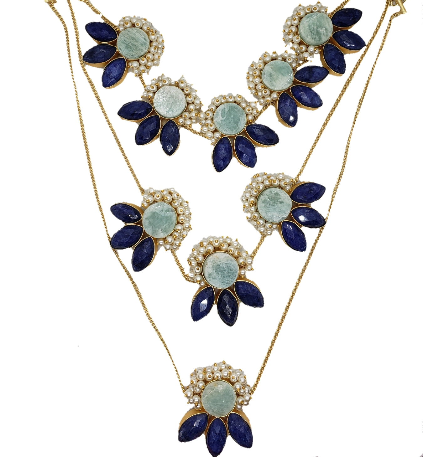 Lapis and Amazonite Layered Necklace - The Bauble Shop
